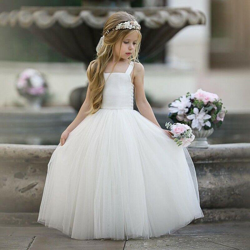 Flower Girls Princess Maxi Lace Tutu Dress Kids Formal Wedding Bridesmaid Gown