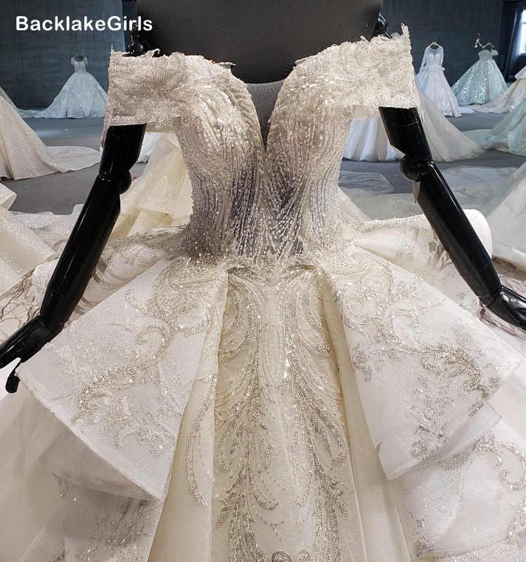 Puffy Trouwjurk 2020 Off Shoulder V-hals Sexy Zomer Bridal Jurken Voor Meisje Lange Trein Vestido De Noiva Princesa