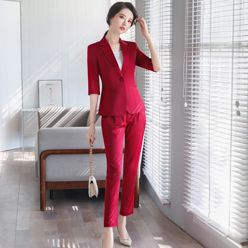 Professional Women's Pants Suit High Quality Spring 2020 New Casual Ladies Red Blazer Jacket Interview Professional Clothing