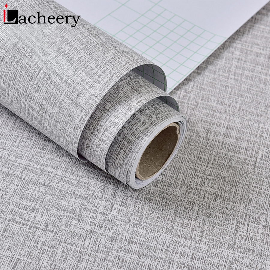 1M Vintage Linen Textured Home Decor Self Adhesive Wallpaper For Living Room Bedroom Wall Decals Vinyl Waterproof Contact Paper