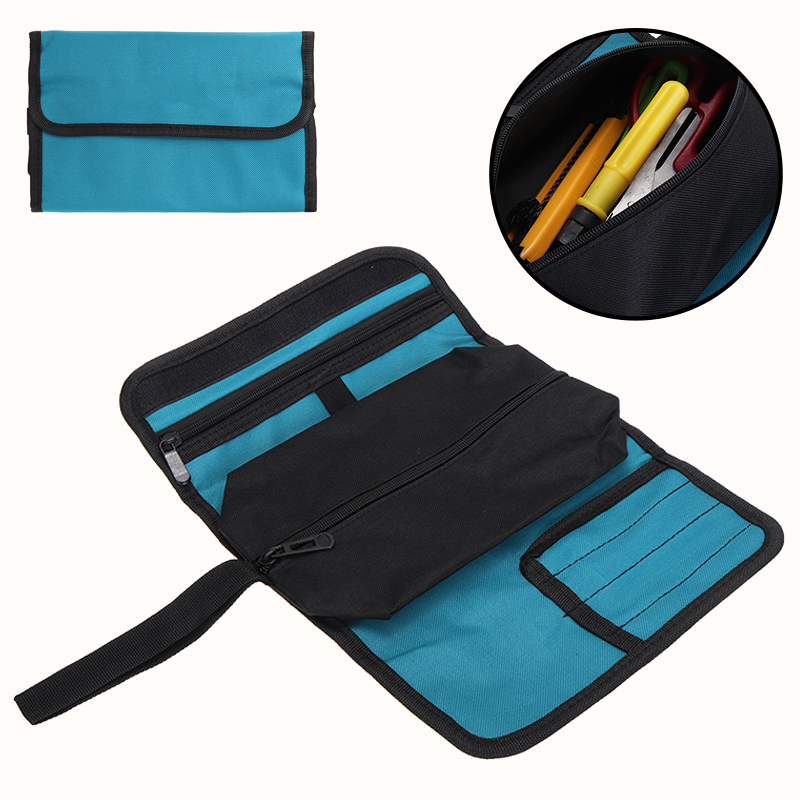 Portable Canvas Pocket Tool Roll Case Spanner Wrench Tool Storage Roll Bag Fold Up Organizer Multi Pockets For Electricians Work