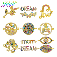 Juya Handmade Micro Pave Zircon Leaf Heart Evil Eye Butterfly Connector Charms Accessories For DIY Bracelet Jewelry Making