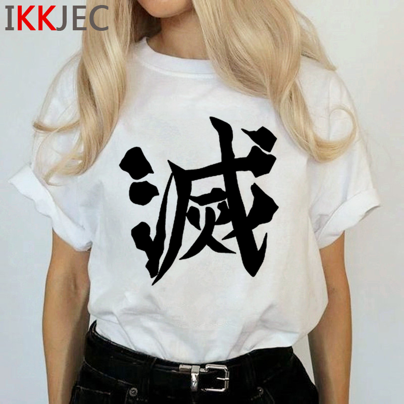 Demon Slayer Harajuku Anime T Shirt Women Kimetsu No Yaiba Ullzang Funny Cartoon T-shirt 90s Cool Tshirt Graphic Top Tees Female 14