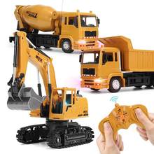 2.4G Remote Control 1:24 Caminhao Excavator Dump Truck Crane Blender Modle with Sound Metal Engineering Vehicle Toys for Kids