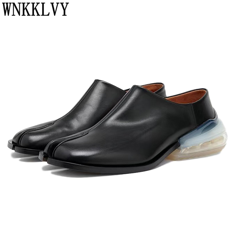 Spring Split toe causal Shoes Woman Transparent air cushion flat shoes genuine leather pig trotter horseshoe lazy loafers 2020