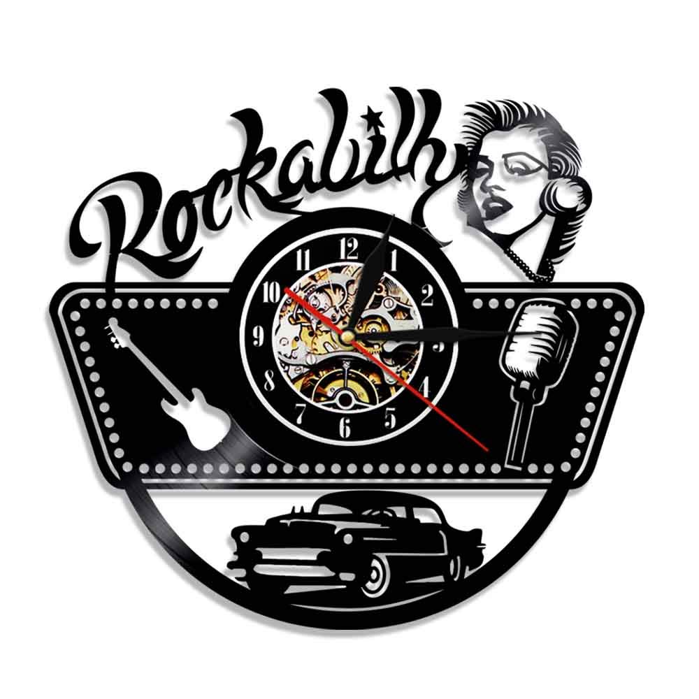 Rockabilly Vinyl Record Wall Clock Modern Design Rock Music Silhouette Vinly Clock With LED Lighting Wall Watch Home Decor 12