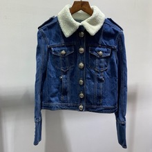 New arrival 2019 Autumn winter womens High quality wool fur collar Denim jackets coat A879
