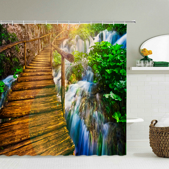 3D Print Forest Landscape Waterproof Fabric Shower Curtain Natural Scenery Bathroom Curtain large 240X180 Decorn Bath Curtains image