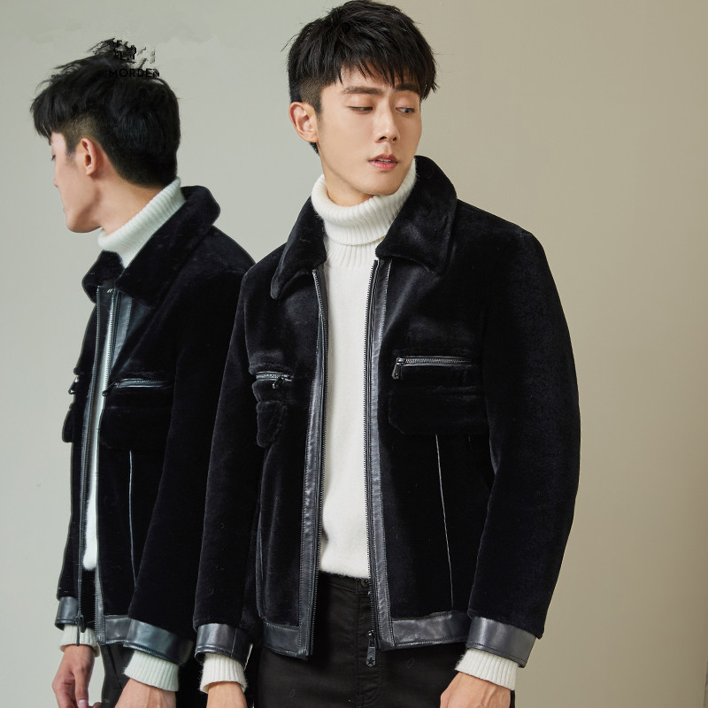 Winter Jacket Men Real Fur Coat Sheep Shearing Men's Leather Jacket Short Overcoat Luxury Coat Men MG-1800006 KJ1322