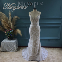 Mryarce 2021 New Bohemian Lace Wedding Dress Sleeveless Open Back Boho Bridal Gowns