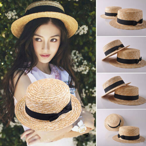 Lady Mother Child Matching Colorful Women Handmade Straw Hat Beach Summer Sun 1 Peice