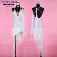 Женское платье для латиноамериканских танцев белое с бахромой