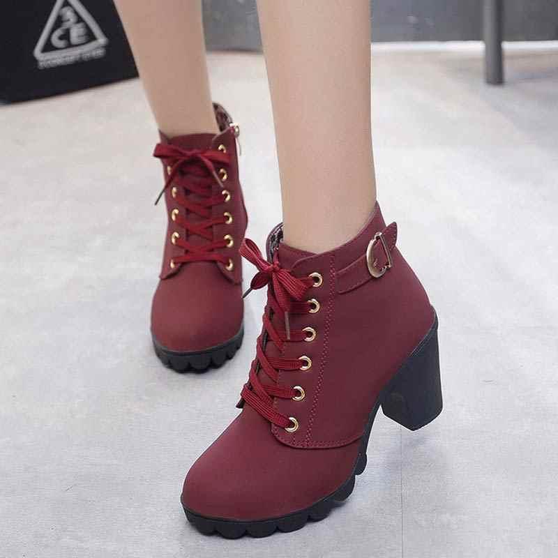 Moda kare topuklar katı ayakkabı kadın kar botları 2019 dantel-up kış ayak bileği çizmeler kadın ayakkabıları platform ayakkabılar kadın yüksek topuklu