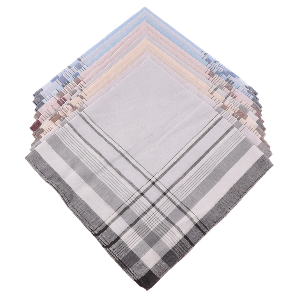10X Men Handkerchiefs Square Decorative Suits Grid Cotton Plaid Pocket Hanky