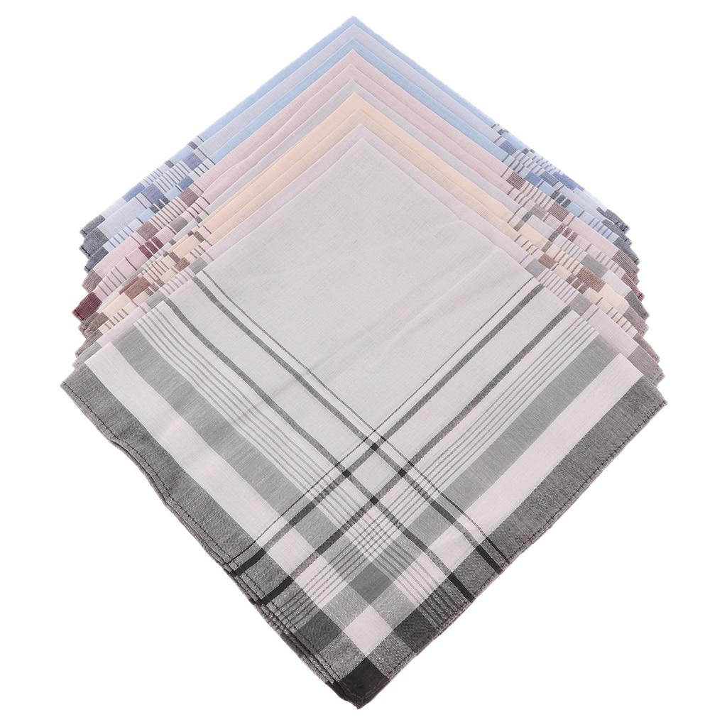 10X Men Handkerchiefs Square Decorative Suits Grid Cotton Plaid Pocket Hanky
