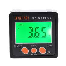 Inclinômetro digital eletrônico transferidor escudo da liga de alumínio caixa chanfrada medidor de ângulo ferramenta medição 37mb