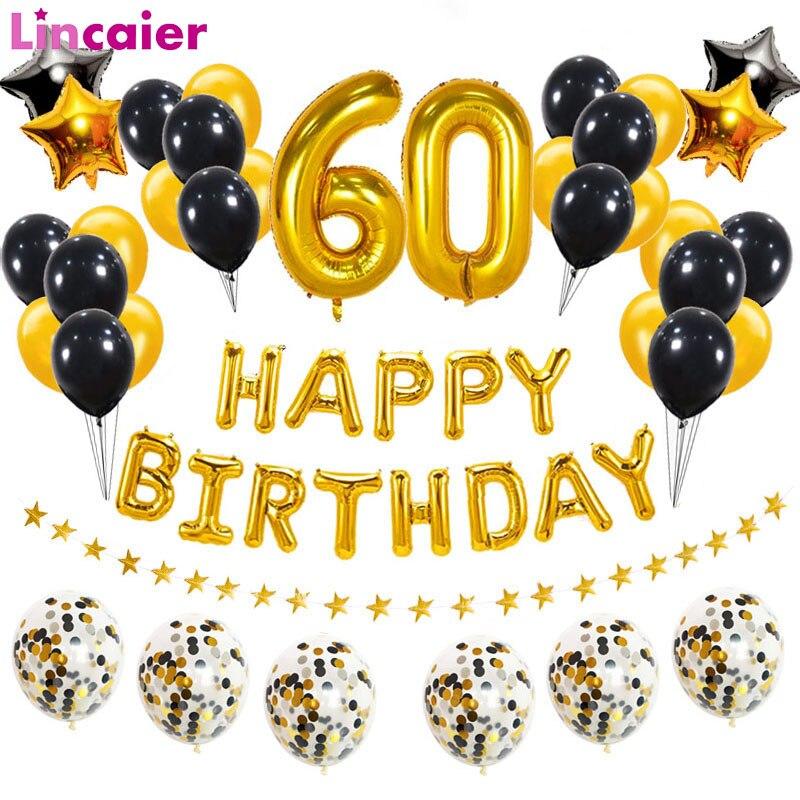 38 шт./компл. 60-й день рождения шары-цифры 60 лет День рождения украшения для взрослых юбилей гелий воздушный шар из фольги шестьдесят
