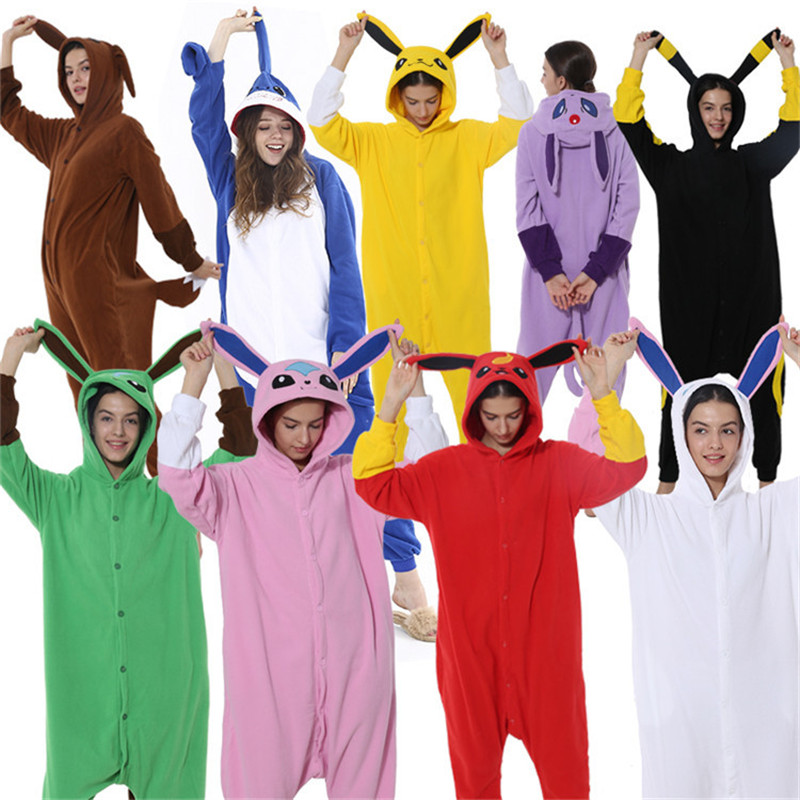 Cotton Adult Pajamas Umbreon Eevee Flareon Kigurumi Cartoon Animal Anime Pokemon Clothes Lovely Cosplay Lovers Party Costume