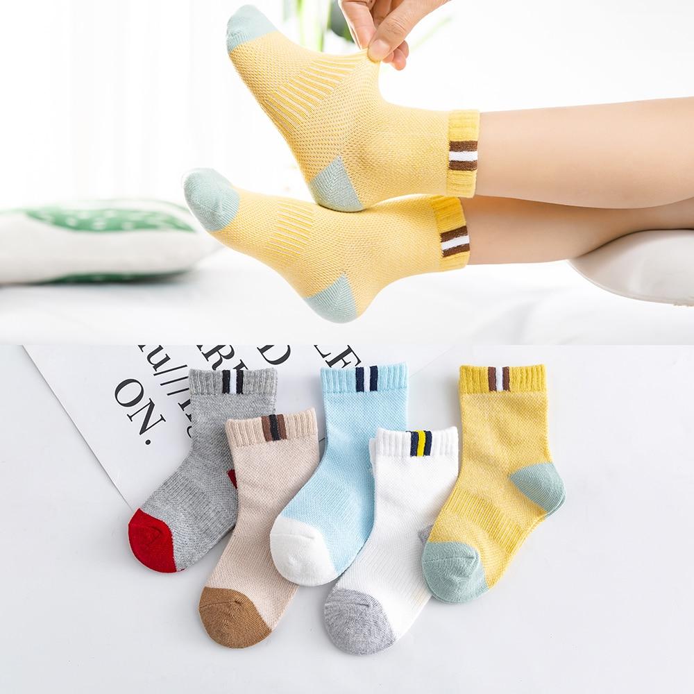 5Pairs/lot 2-9Y Baby Socks Summer Cotton Color Patchwork Kids Socks Colorful Girls Mesh Cute Newborn Boys Toddler Socks Baby 1