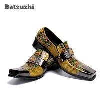 Batzuzhi – chaussures de luxe en cuir pour hommes, Style italien, fait à la main, de haute qualité, dorées, formelles, d'affaires