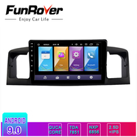 FUNROVER 2 din Android 9.0 IPS+2.5D car dvd gps Multimedia player For TOYOTA Corolla E120 BYD F3 radio navigation stereo WIFI BT