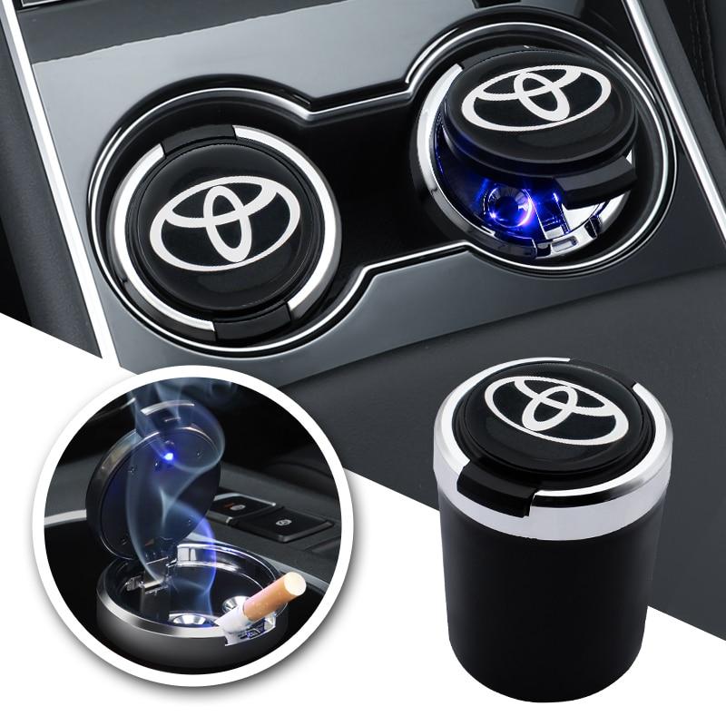Автомобильный Товары светодиодный светильник удобная корзина для мусора хранения огнестойкий пепельница для Toyota Chr Corolla Auris Avensis T25 Yaris Rav4 Camry