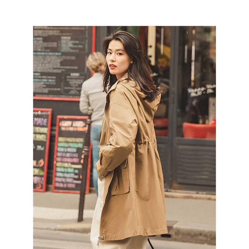 INMAN 2019 jesień nowy nabytek dorywczo z kapturem literacki głęboki Khaki Drop-shoulder Fashion Women Coat
