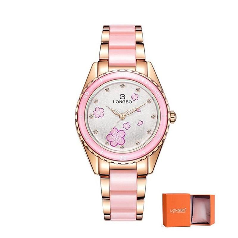 LONGBO 2020 Fashion Watch Ladies Luxury Ceramic And Alloy Bracelet Waterproof Watch Relogio Feminino Montre Relogio Clock 80735M