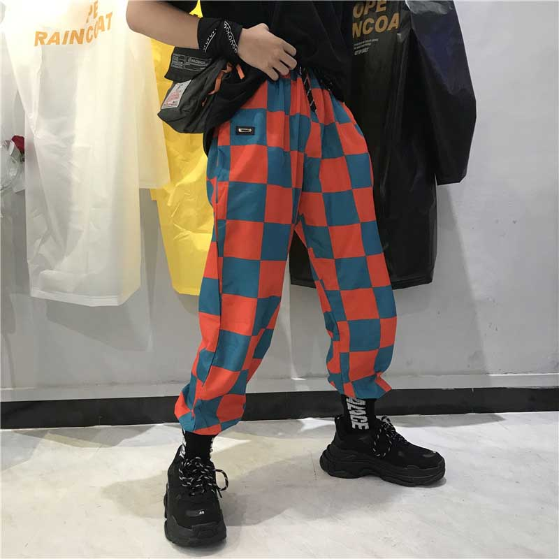 Hip Hop New Brand Korean Couple Women's Clothing Pockets Harajuku Ulzzang Personality Checkerboard Plaid High Loose Harem Pants