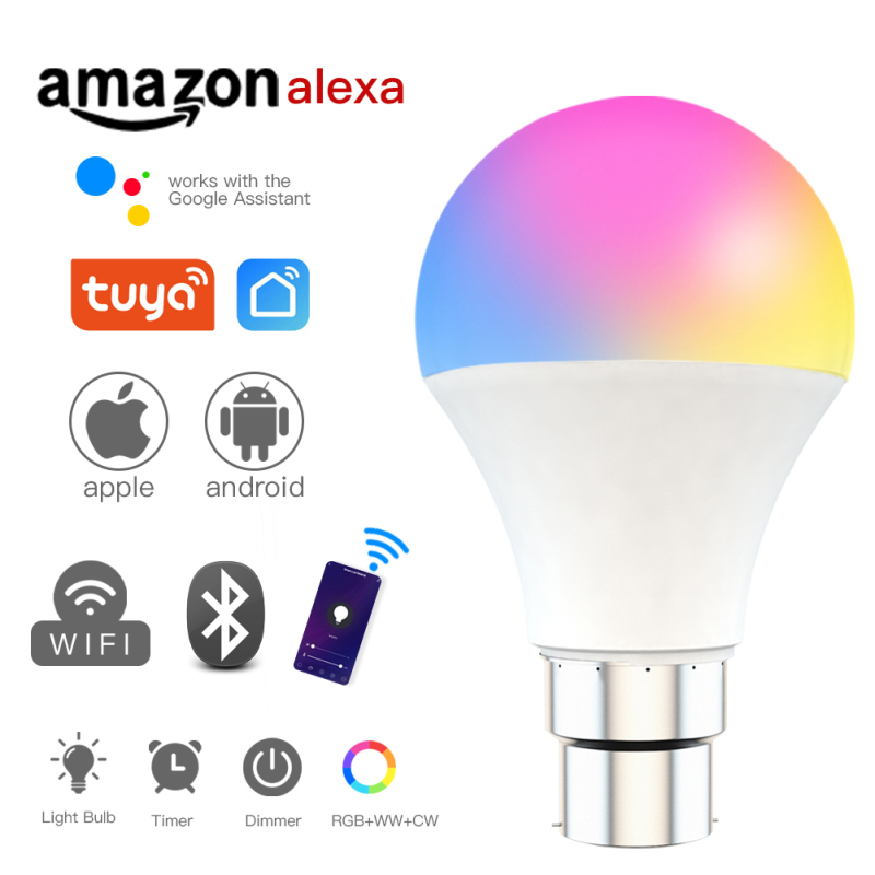 Умный светильник, лампа Tuya, умный дом, управление, Wifi, с регулируемой яркостью, RGBW, лампа E27 B22, работает с Alexa Google Home, умная Светодиодная лампа