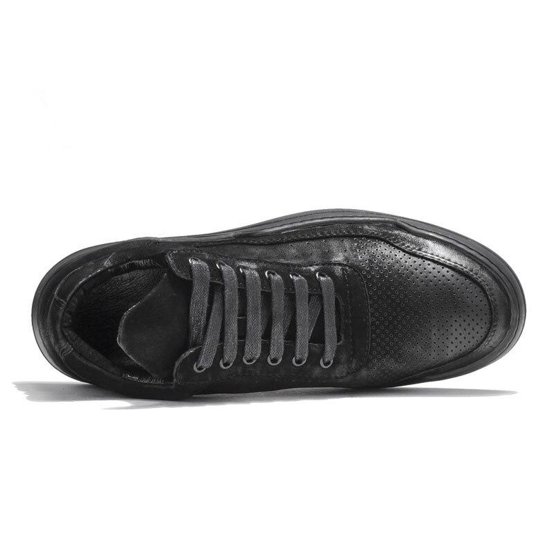 Designer Koe Suede Hollow Out Casual Schoenen Mannen Hoge Top Dikke Platform Skateboard Sapato Masculino Merk Sneakers Mannen Schoeisel - 5