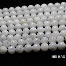 Meihan بالجملة (تقريبا 38 الخرز/مجموعة/53 جرام/) A + 9.5 10.5 مللي متر الحجر القمر الطبيعي السلس جولة فضفاض الخرز لتصميم صنع المجوهرات