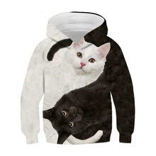 3D animal print hooded long sleeve sweatshirt for boys and girls, casual, relaxed and comfortable cat sweatshirt, street style n