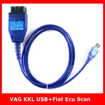 Latest for VAG USB KKL Interface + for Fiat ECU Scan OBD OBD2 Diagnostic Scanner Cable Cars Engine Airbag Adapter Scan Tool professional ecu chip tunning tool vag tacho 5 0 usb with usb dongle v 5 0 vag tacho for nec mcu 24c32 or 24c64 free shipping