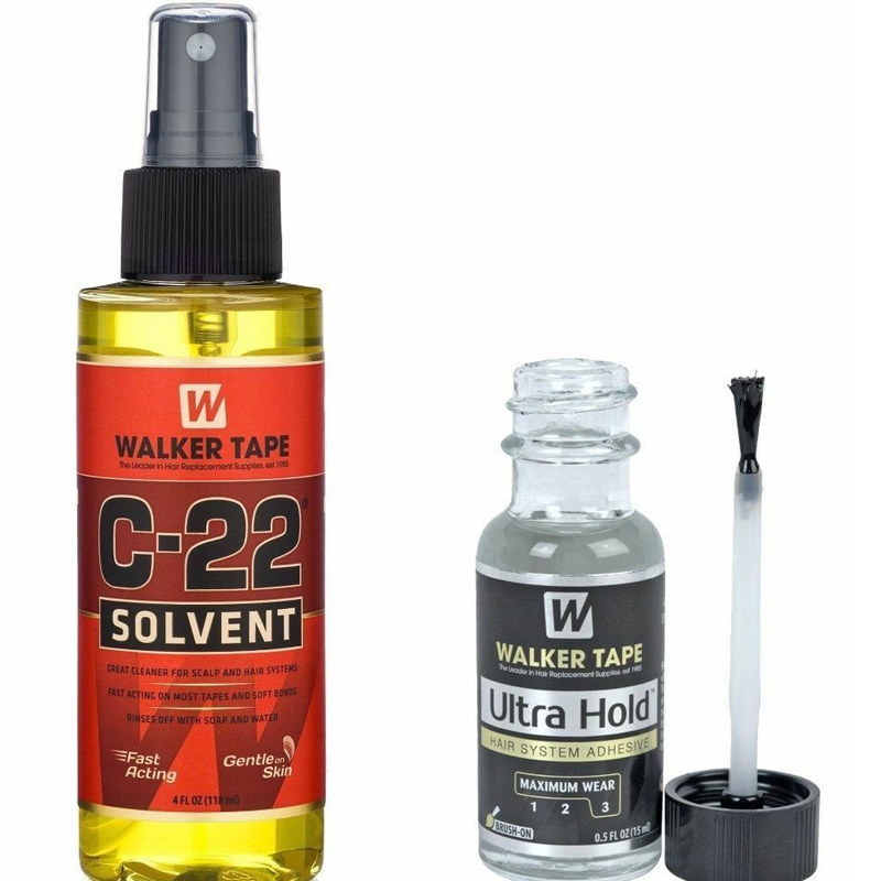 1bottle Walker Tape C-22 Solvent Remover 4 Oz + 1bottel Ultra Hold Small Adhesive Glue For Toupee Hair 0.5 Oz / 15ml