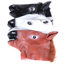 Horse Mask Halloween Horse Head Mask Latex Creepy Animal Costume Theater Prank Crazy Party Halloween Decor(China)