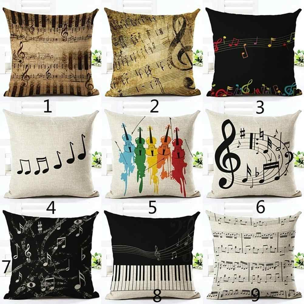 Hot New Arrival Piano Music Note Linen Pillow Case Cushion Covers Sofa Bedroom Decoration Piano and Music Note Pattern Removable
