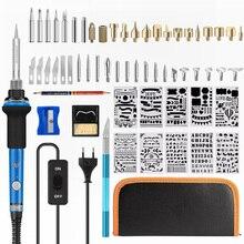 Ebakey 110V/220V 60W Soldeerbout Kit Houtgestookte Pen Set Elektrische Soldeerbout Carving Pyrography gereedschap