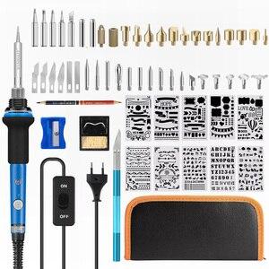 Image 1 - ebakey 110V/220V 60W Soldering Iron Kit Wood Burning Pen Set Electric Soldering Iron Carving Pyrography Tools