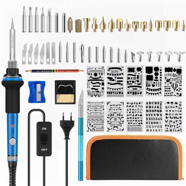 ebakey 110V/220V 60W Soldering Iron Kit Wood Burning Pen Set Electric Soldering Iron Carving Pyrography Tools