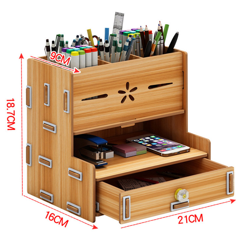 Simple And Practical  Storage Box Wooden   Bookends Multifunctional  Desktop Rack Office Organizer