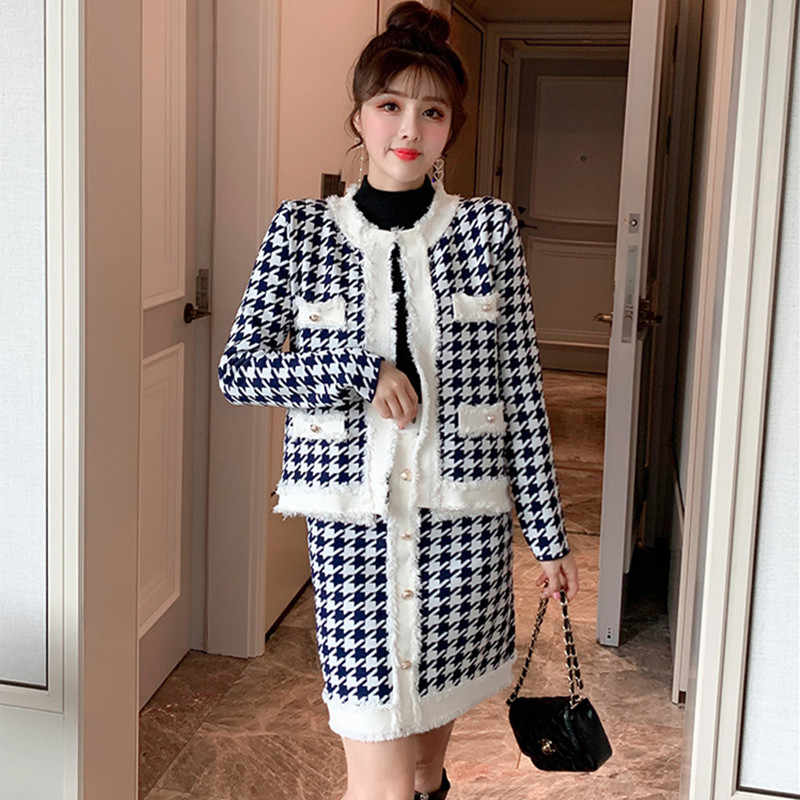 YiLin Kay 2019 Autumn Winter Houndstooth Tassel 2 Piece Set Women Knitted Long Sleeve Jacket Coat + Mini Pencil Skirt Suits