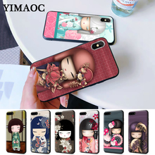 kawaii Japanese Kokeshi Doll Silicone Case for iPhone 5 5S 6 6S Plus 7 8 X XS Max XR abwe best sale 3 pcs flower print wood japanese folk craft kokeshi doll pink