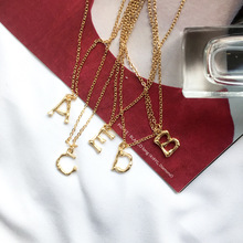 Ailodo Minimalist Gold Color 26 A-Z Letter Name Initial Necklaces For Women Long Chain Letter Pendant Necklace Girl Gift 20MAR05 a z fashion personalized capital letter corrugated shape alphabet pendant necklace gold color chain initial necklaces for women