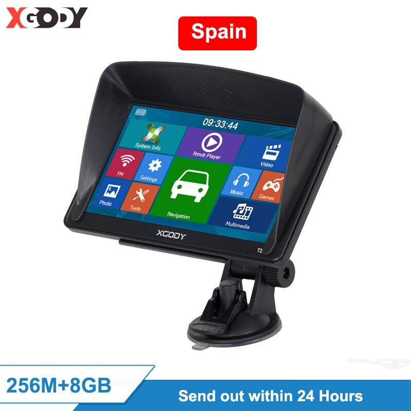 XGODY 723 7 Inch GPS Navigation 256M+8GB Car Truck Map 2020 Car Navigator Touch Screen Sat Nav Shipping From Spain