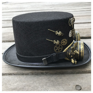 Image 3 - 2019 moda masculina feminina artesanal steampunk chapéu com óculos de engrenagem chapéu mágico desempenho bowler chapéu tamanho 57 cm steampunk chapéu