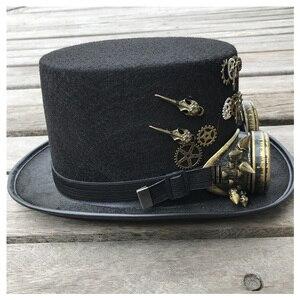 Image 3 - 2019 модная мужская и женская шляпа ручной работы в стиле стимпанк с очками для снаряжения Волшебная Шляпа для выступлений шляпа котелок размер 57 см шляпа в стиле стимпанк