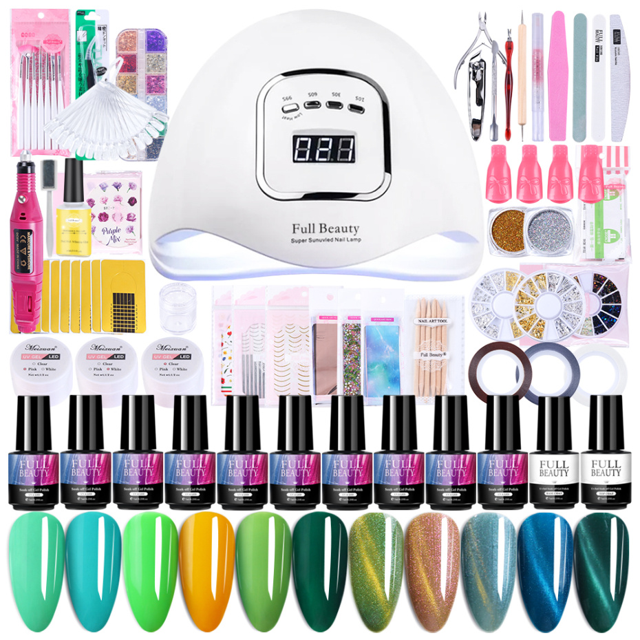Nail Tool Set With 90W LED Lamp 8/10pcs Nail Polish Acrylic Extensions Gel Sticker Sequins Manicure Electric Drill Kits LA1582