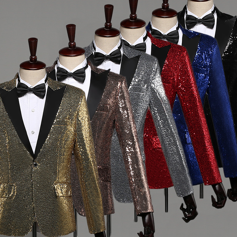 Shiny Sequin Bling Glitter Suits Men Club DJ Mens Blazer Jacket Stage Clothers For Singers Male Wedding Performance Suit DT1470