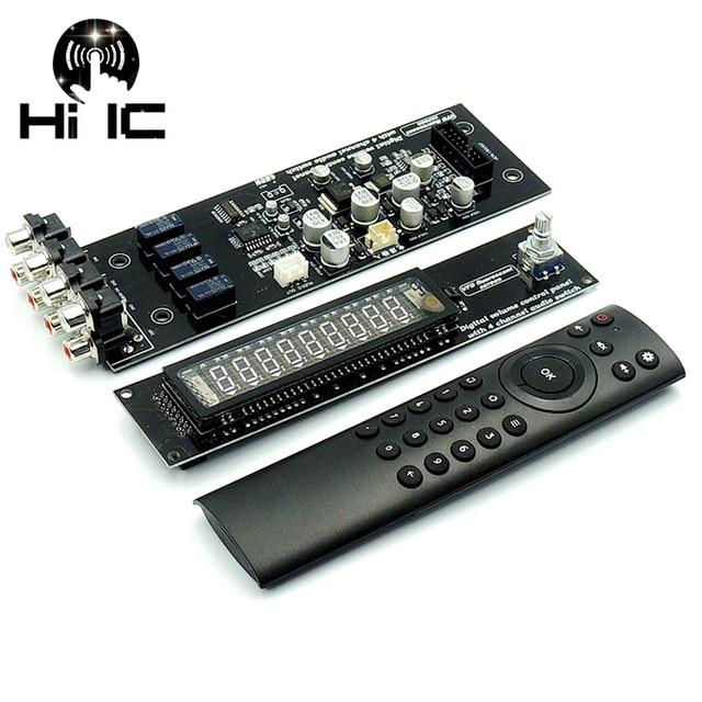 VFD Vacuum Fluorescent Display Remote Volume Board 4 Way Audio Signal Switcher Switch Selector HiFi Audio Preamplifier Board